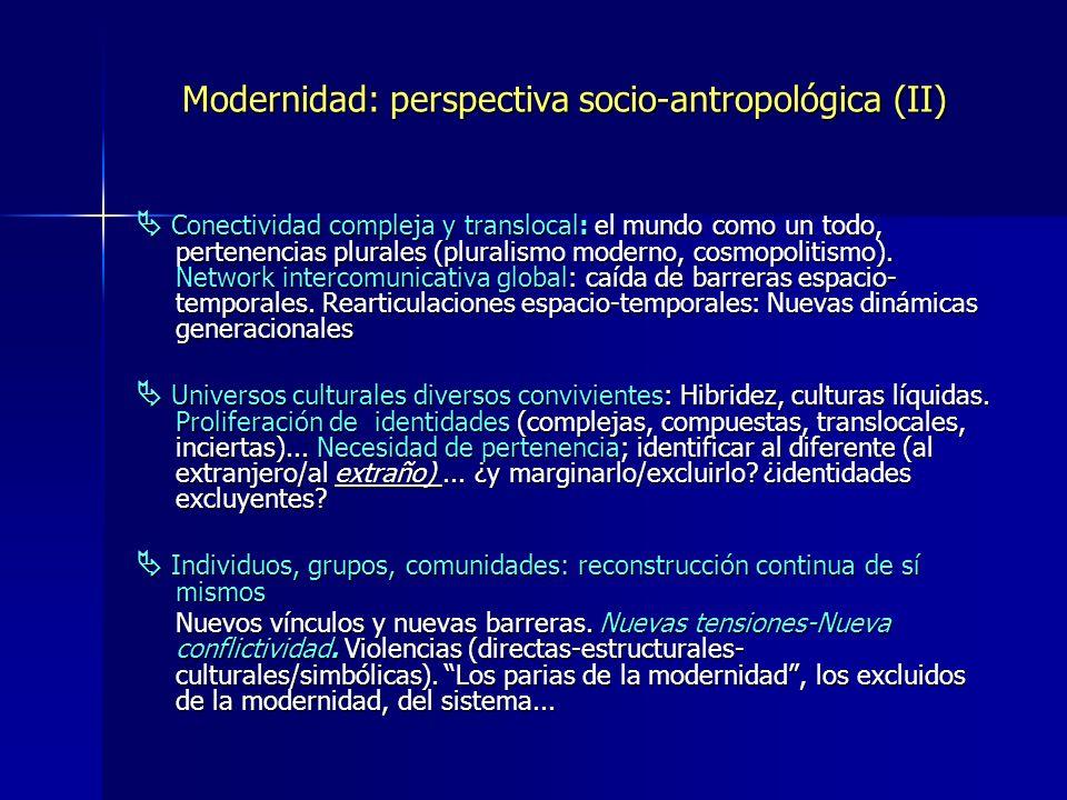 Modernidad: perspectiva socio-antropológica (II) Conectividad compleja y translocal: el mundo como un todo, pertenencias plurales (pluralismo moderno,