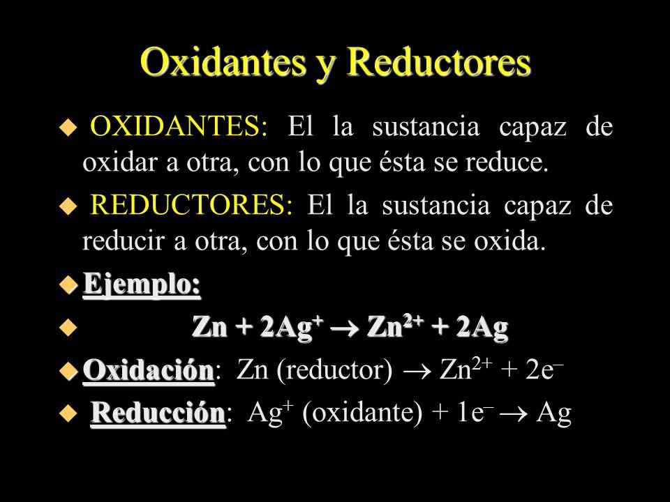 Oxidantes y Reductores u OXIDANTES: El la sustancia capaz de oxidar a otra, con lo que ésta se reduce. u REDUCTORES: El la sustancia capaz de reducir