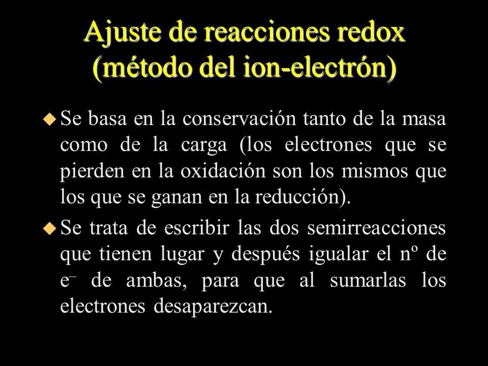 Ajuste de reacciones redox (método del ion-electrón) u Se basa en la conservación tanto de la masa como de la carga (los electrones que se pierden en