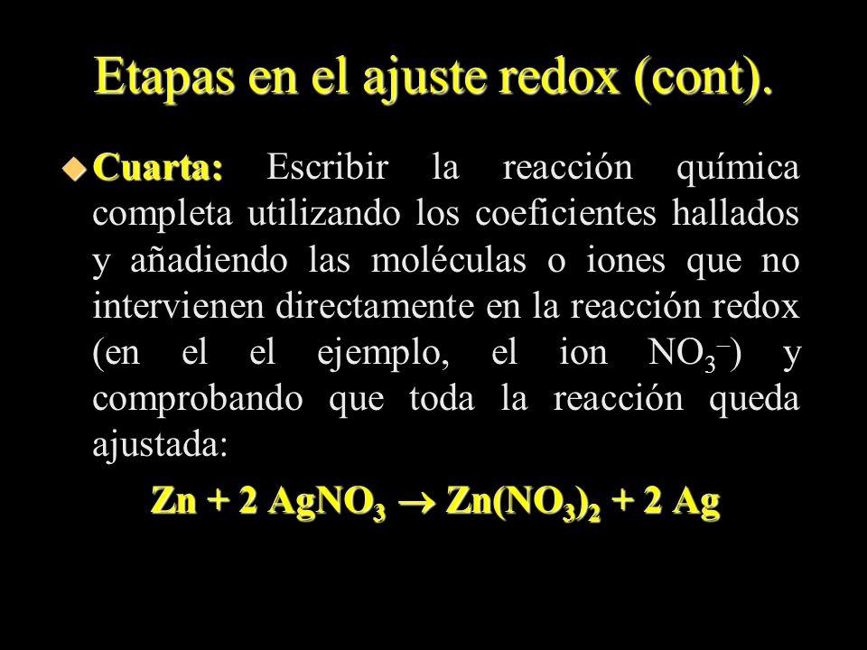 Etapas en el ajuste redox (cont). u Cuarta: u Cuarta: Escribir la reacción química completa utilizando los coeficientes hallados y añadiendo las moléc