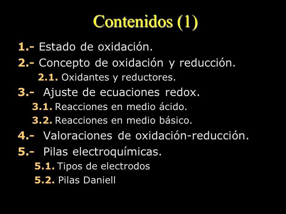 Contenidos (1) 1.- Estado de oxidación. 2.- Concepto de oxidación y reducción. 2.1. Oxidantes y reductores. 3.- Ajuste de ecuaciones redox. 3.1. Reacc