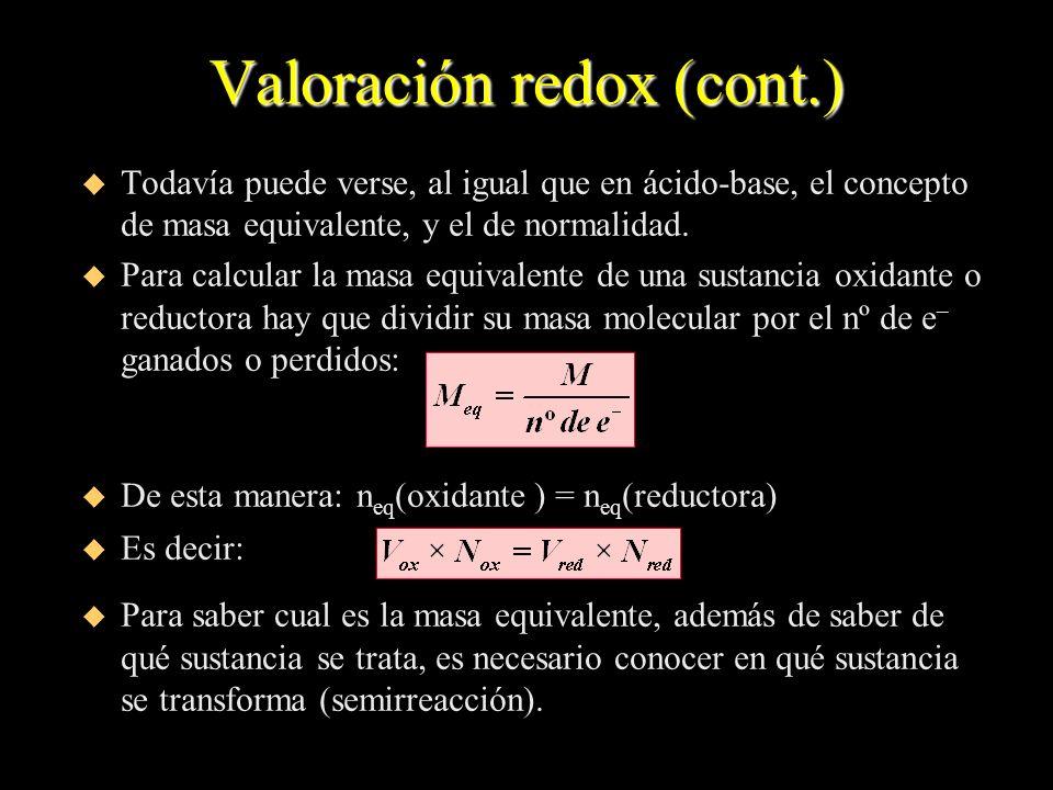 Valoración redox (cont.) u Todavía puede verse, al igual que en ácido-base, el concepto de masa equivalente, y el de normalidad. u Para calcular la ma
