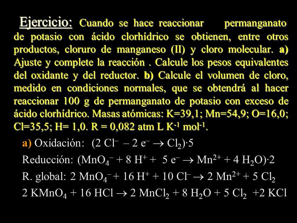 Ejercicio: Cuando se hace reaccionar permanganato de potasio con ácido clorhídrico se obtienen, entre otros productos, cloruro de manganeso (II) y clo