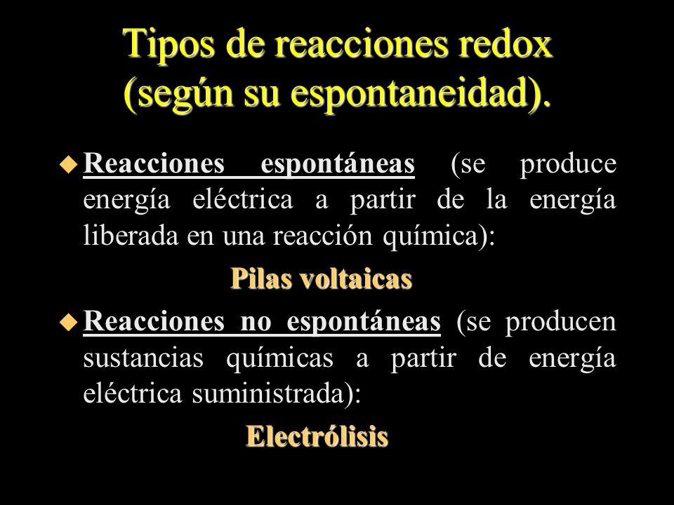 Tipos de reacciones redox (según su espontaneidad). u Reacciones espontáneas (se produce energía eléctrica a partir de la energía liberada en una reac