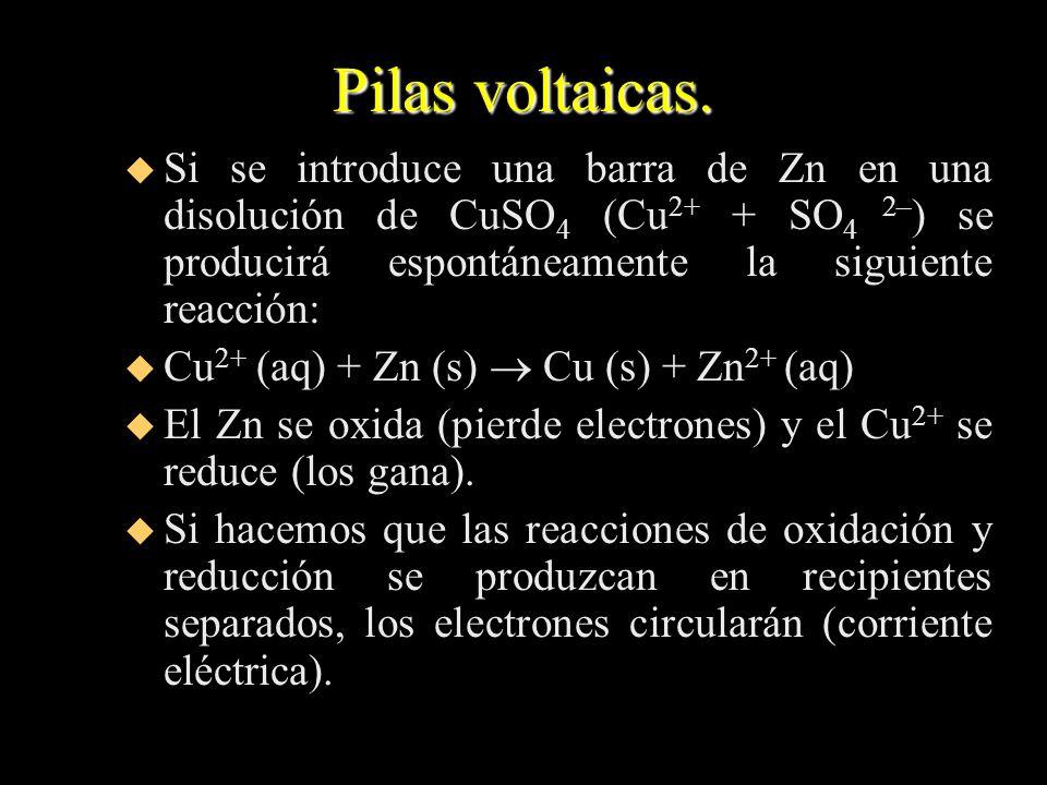Pilas voltaicas. u Si se introduce una barra de Zn en una disolución de CuSO 4 (Cu 2+ + SO 4 2– ) se producirá espontáneamente la siguiente reacción: