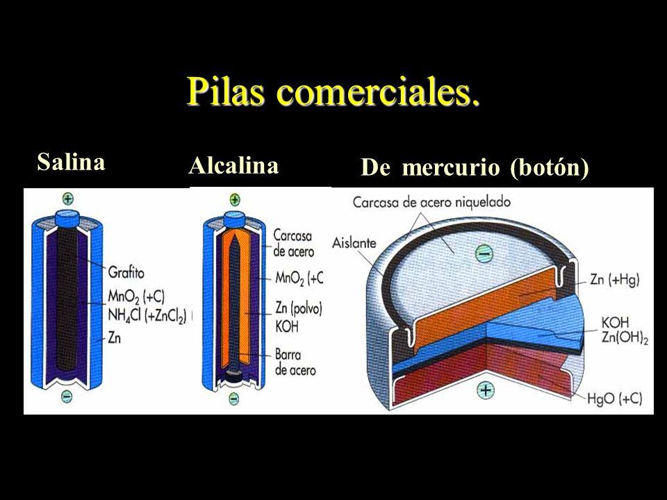 Pilas comerciales. Alcalina De mercurio (botón) Salina