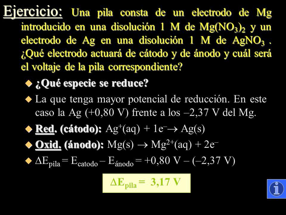 Ejercicio: Una pila consta de un electrodo de Mg introducido en una disolución 1 M de Mg(NO 3 ) 2 y un electrodo de Ag en una disolución 1 M de AgNO 3