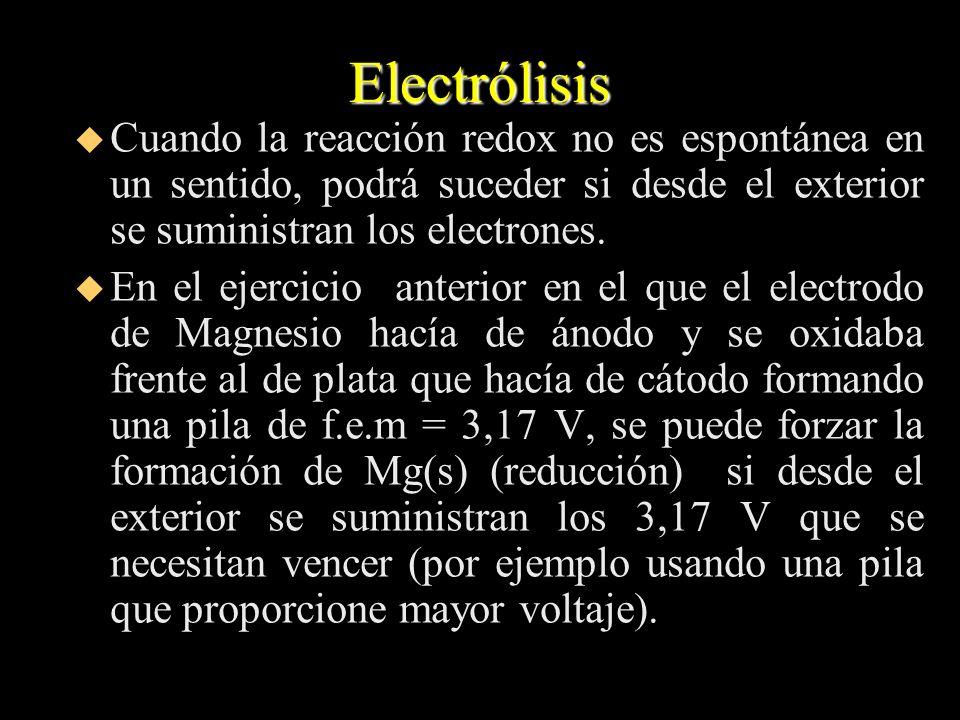 Electrólisis u Cuando la reacción redox no es espontánea en un sentido, podrá suceder si desde el exterior se suministran los electrones. u En el ejer