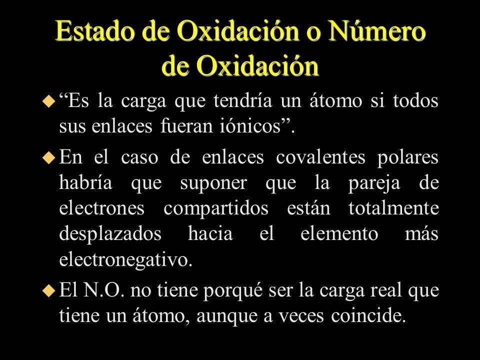 Estado de Oxidación o Número de Oxidación u Es la carga que tendría un átomo si todos sus enlaces fueran iónicos. u En el caso de enlaces covalentes p