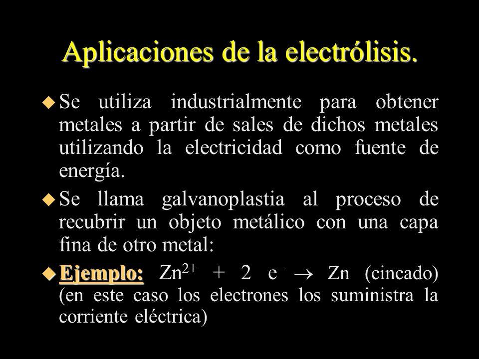 Aplicaciones de la electrólisis. u Se utiliza industrialmente para obtener metales a partir de sales de dichos metales utilizando la electricidad como