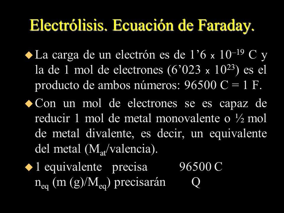 Electrólisis. Ecuación de Faraday. La carga de un electrón es de 16 x 10 –19 C y la de 1 mol de electrones (6023 x 10 23 ) es el producto de ambos núm