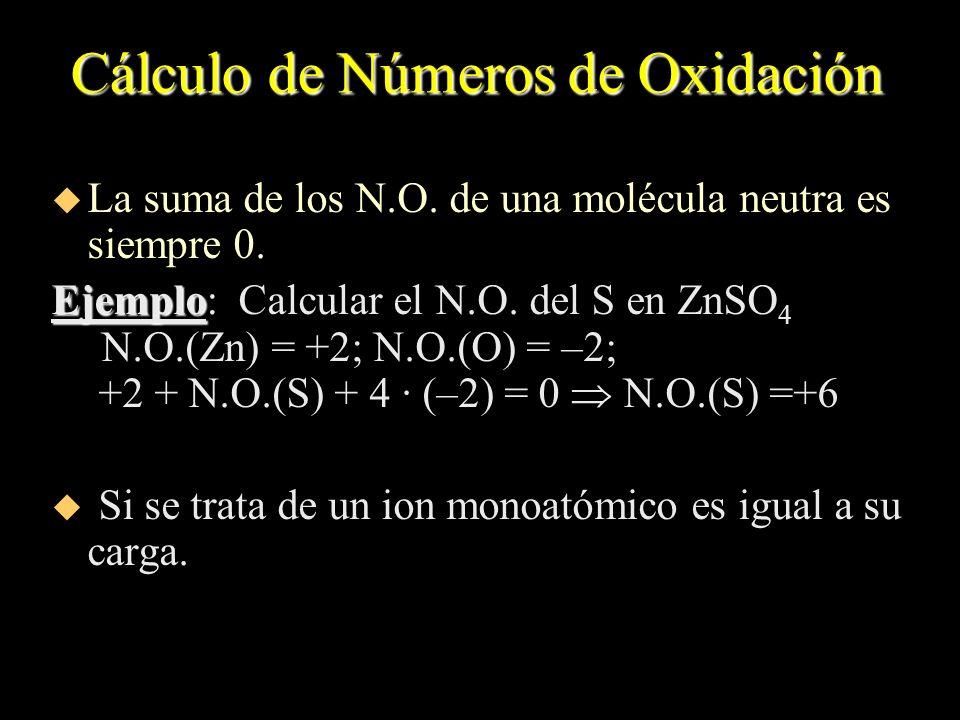 Cálculo de Números de Oxidación u La suma de los N.O. de una molécula neutra es siempre 0. Ejemplo Ejemplo: Calcular el N.O. del S en ZnSO 4 N.O.(Zn)