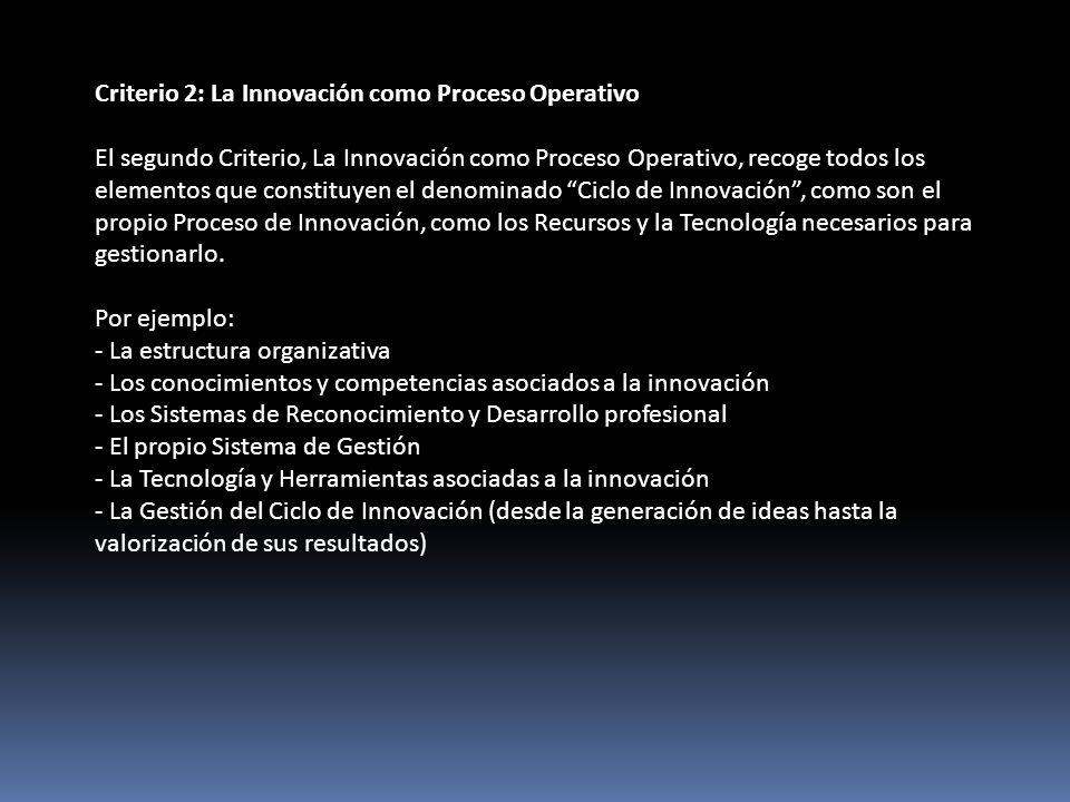 Criterio 2: La Innovación como Proceso Operativo El segundo Criterio, La Innovación como Proceso Operativo, recoge todos los elementos que constituyen el denominado Ciclo de Innovación, como son el propio Proceso de Innovación, como los Recursos y la Tecnología necesarios para gestionarlo.