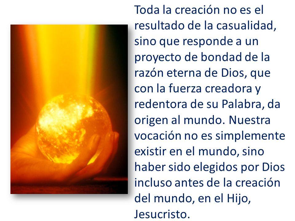 Toda la creación no es el resultado de la casualidad, sino que responde a un proyecto de bondad de la razón eterna de Dios, que con la fuerza creadora y redentora de su Palabra, da origen al mundo.
