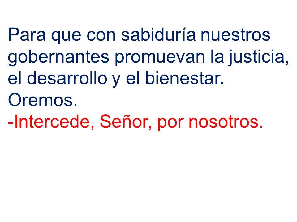 Para que con sabiduría nuestros gobernantes promuevan la justicia, el desarrollo y el bienestar. Oremos. -Intercede, Señor, por nosotros.