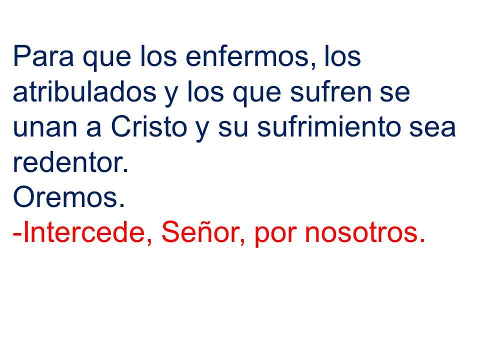Para que los enfermos, los atribulados y los que sufren se unan a Cristo y su sufrimiento sea redentor. Oremos. -Intercede, Señor, por nosotros.