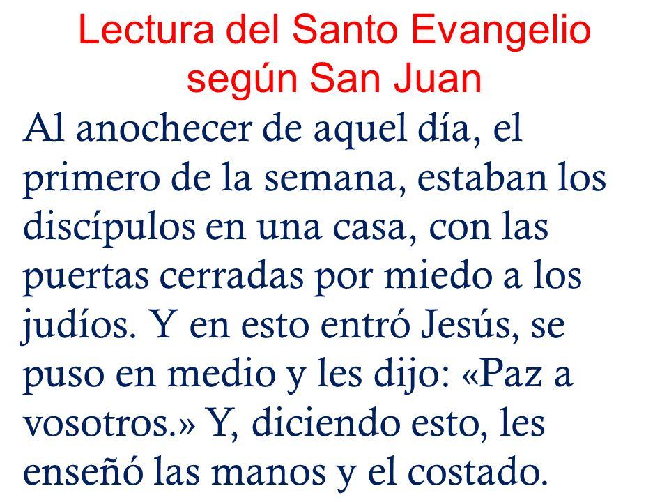 Lectura del Santo Evangelio según San Juan Al anochecer de aquel día, el primero de la semana, estaban los discípulos en una casa, con las puertas cer
