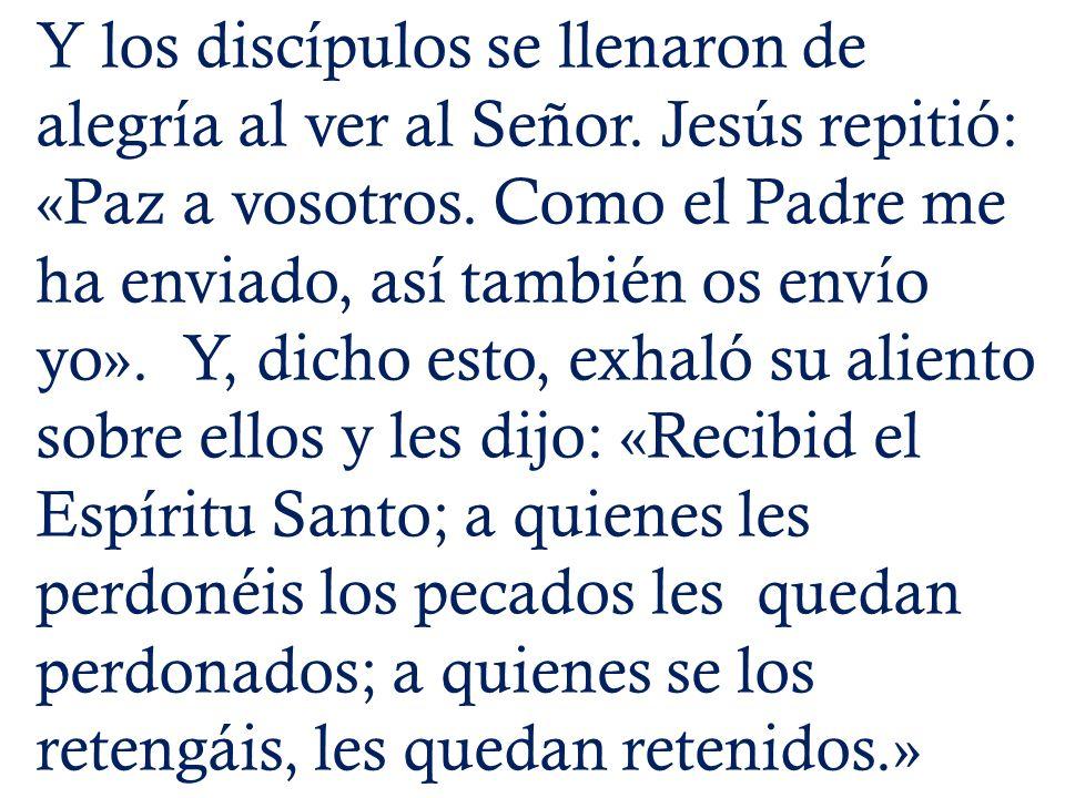 Y los discípulos se llenaron de alegría al ver al Señor. Jesús repitió: «Paz a vosotros. Como el Padre me ha enviado, así también os envío yo». Y, dic