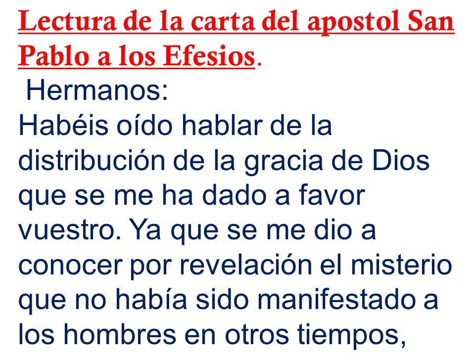 Lectura de la carta del apostol San Pablo a los Efesios. Hermanos: Habéis oído hablar de la distribución de la gracia de Dios que se me ha dado a favo