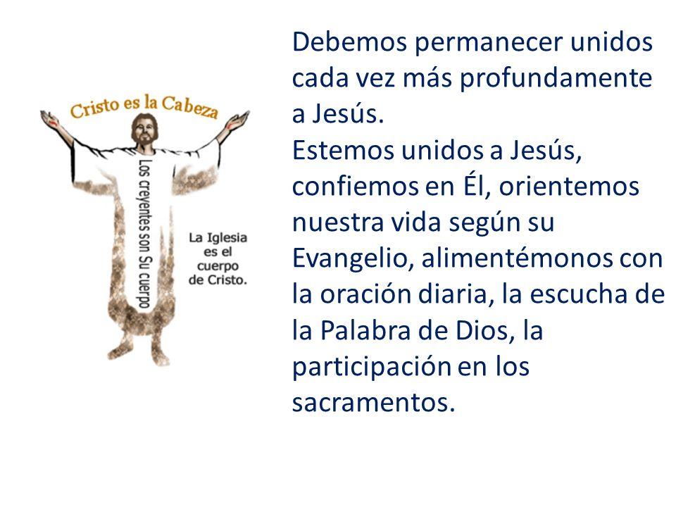 Debemos permanecer unidos cada vez más profundamente a Jesús. Estemos unidos a Jesús, confiemos en Él, orientemos nuestra vida según su Evangelio, ali