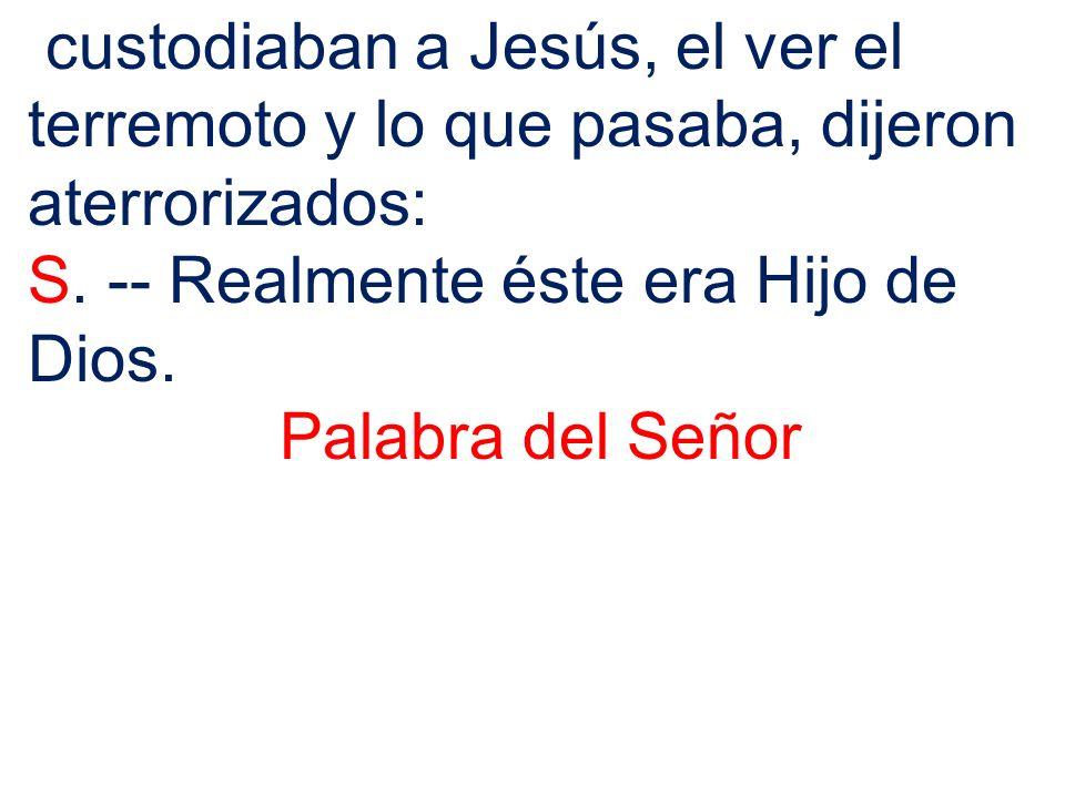custodiaban a Jesús, el ver el terremoto y lo que pasaba, dijeron aterrorizados: S. -- Realmente éste era Hijo de Dios. Palabra del Señor
