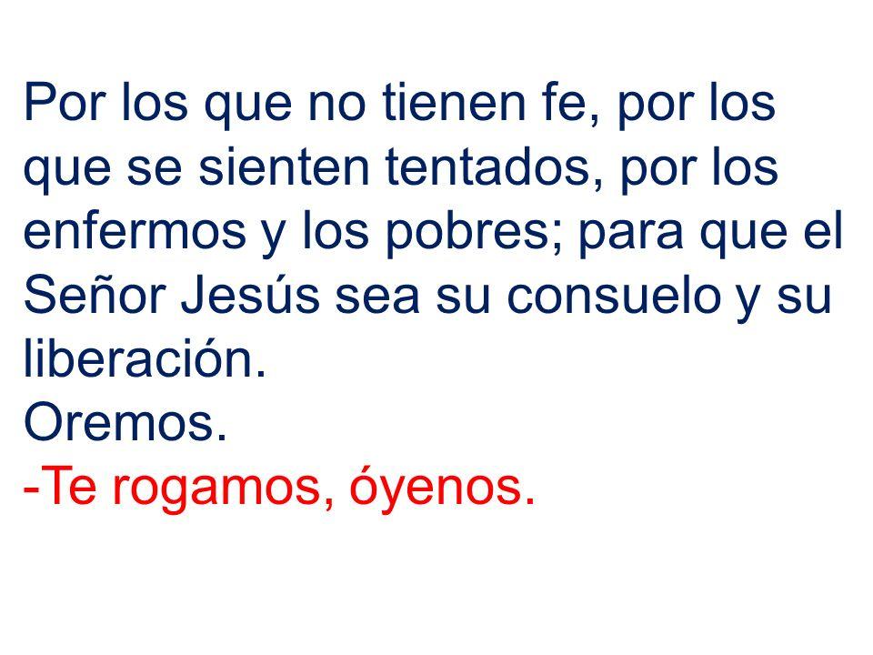 Por los que no tienen fe, por los que se sienten tentados, por los enfermos y los pobres; para que el Señor Jesús sea su consuelo y su liberación. Ore