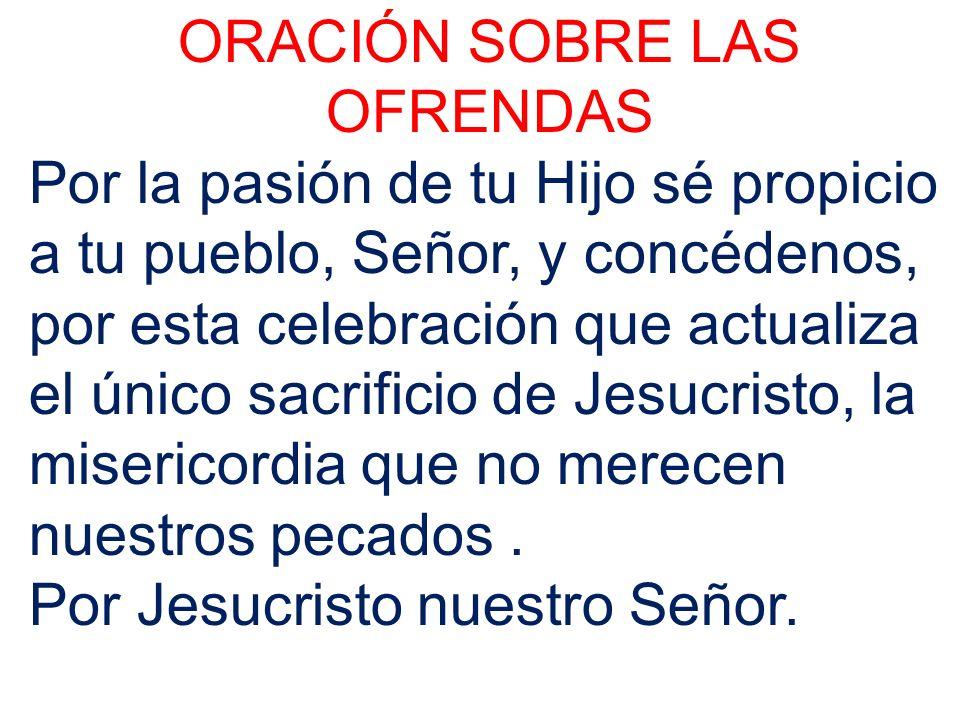 ORACIÓN SOBRE LAS OFRENDAS Por la pasión de tu Hijo sé propicio a tu pueblo, Señor, y concédenos, por esta celebración que actualiza el único sacrific