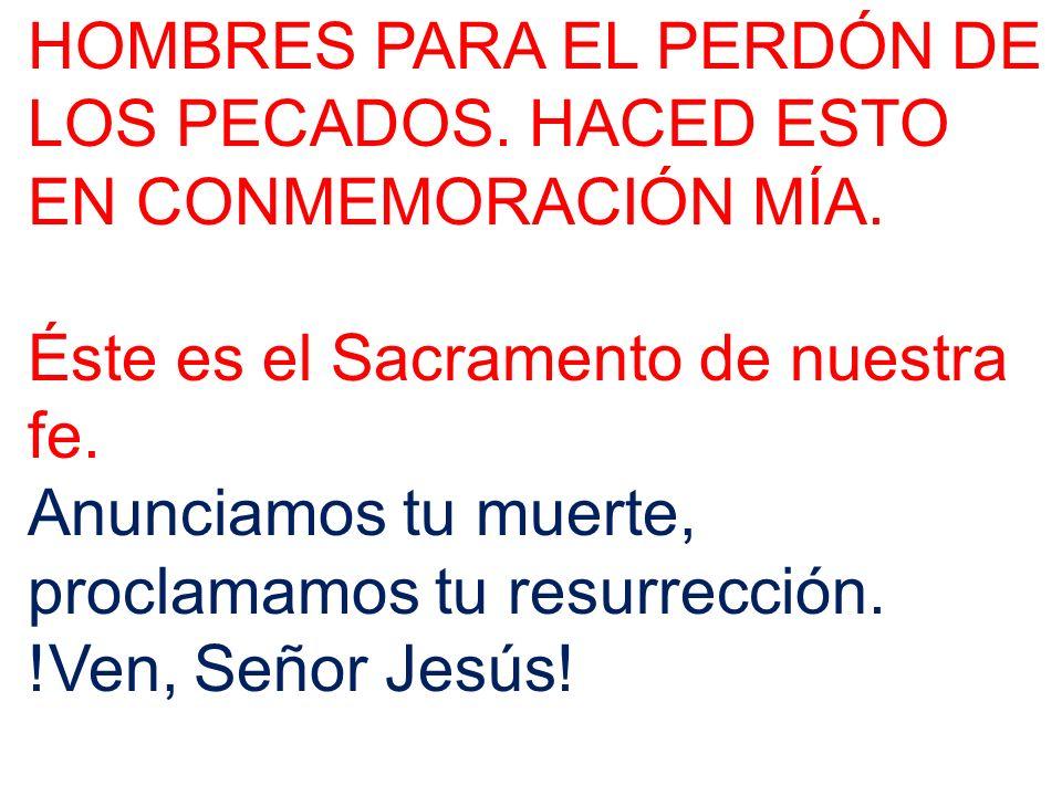 HOMBRES PARA EL PERDÓN DE LOS PECADOS. HACED ESTO EN CONMEMORACIÓN MÍA. Éste es el Sacramento de nuestra fe. Anunciamos tu muerte, proclamamos tu resu