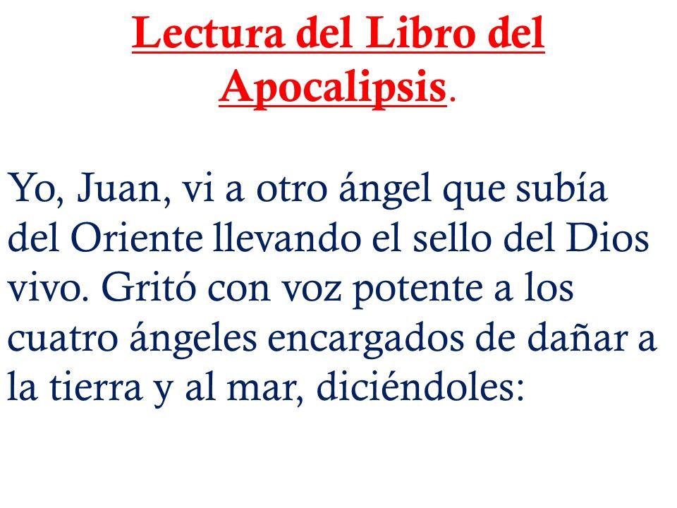 Lectura del Libro del Apocalipsis. Yo, Juan, vi a otro ángel que subía del Oriente llevando el sello del Dios vivo. Gritó con voz potente a los cuatro