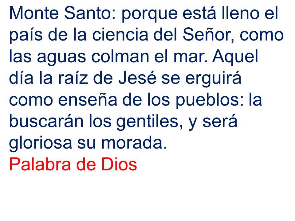 Monte Santo: porque está lleno el país de la ciencia del Señor, como las aguas colman el mar. Aquel día la raíz de Jesé se erguirá como enseña de los