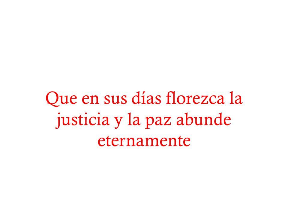 Que en sus días florezca la justicia y la paz abunde eternamente