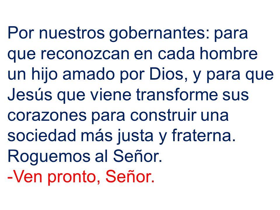 Por nuestros gobernantes: para que reconozcan en cada hombre un hijo amado por Dios, y para que Jesús que viene transforme sus corazones para construi