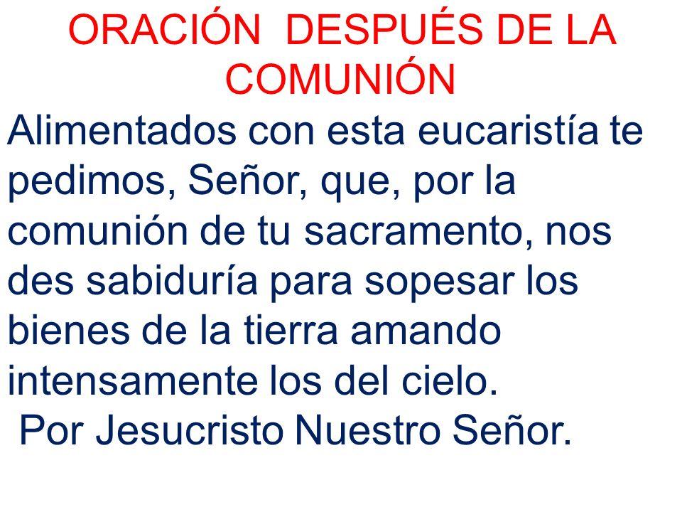 ORACIÓN DESPUÉS DE LA COMUNIÓN Alimentados con esta eucaristía te pedimos, Señor, que, por la comunión de tu sacramento, nos des sabiduría para sopesa