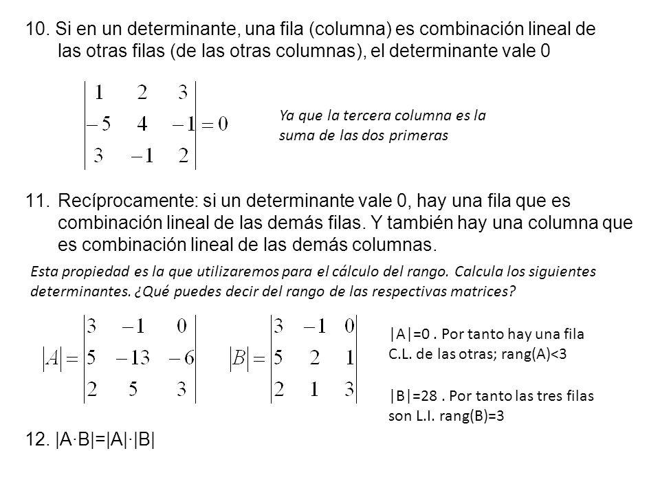 12. |A·B|=|A|·|B| 10. Si en un determinante, una fila (columna) es combinación lineal de las otras filas (de las otras columnas), el determinante vale