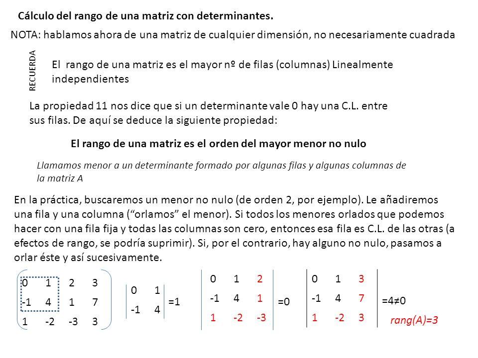 Cálculo del rango de una matriz con determinantes. RECUERDA El rango de una matriz es el mayor nº de filas (columnas) Linealmente independientes La pr