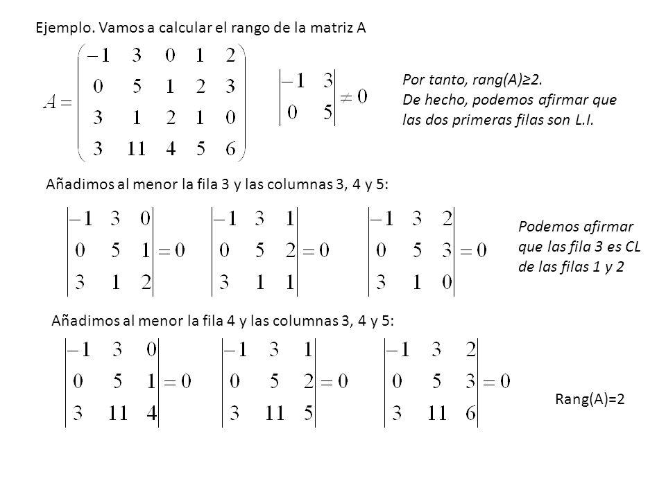 Por tanto, rang(A)2. De hecho, podemos afirmar que las dos primeras filas son L.I. Añadimos al menor la fila 3 y las columnas 3, 4 y 5: Podemos afirma