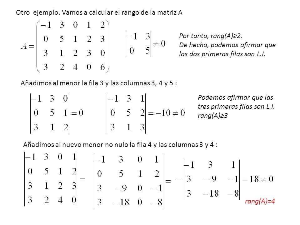 Por tanto, rang(A)2. De hecho, podemos afirmar que las dos primeras filas son L.I. Añadimos al menor la fila 3 y las columnas 3, 4 y 5 : Podemos afirm