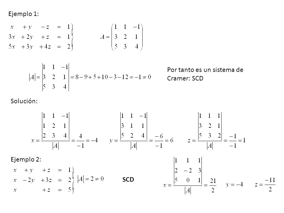 Por tanto es un sistema de Cramer: SCD Solución: SCD Ejemplo 1: Ejemplo 2: