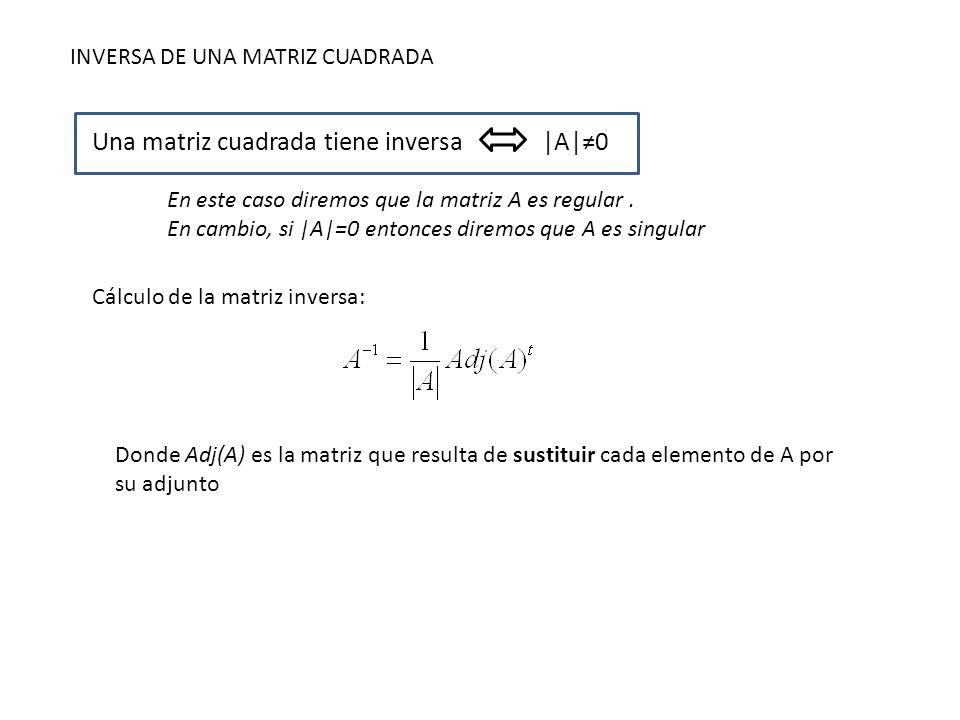 INVERSA DE UNA MATRIZ CUADRADA Una matriz cuadrada tiene inversa|A|0 En este caso diremos que la matriz A es regular. En cambio, si |A|=0 entonces dir
