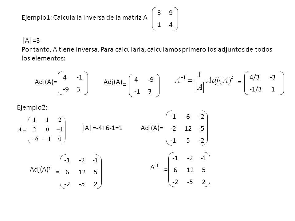 39 14 Ejemplo1: Calcula la inversa de la matriz A 4 -93 Adj(A)= 4-9 3 Adj(A) t |A|=3 Por tanto, A tiene inversa. Para calcularla, calculamos primero l