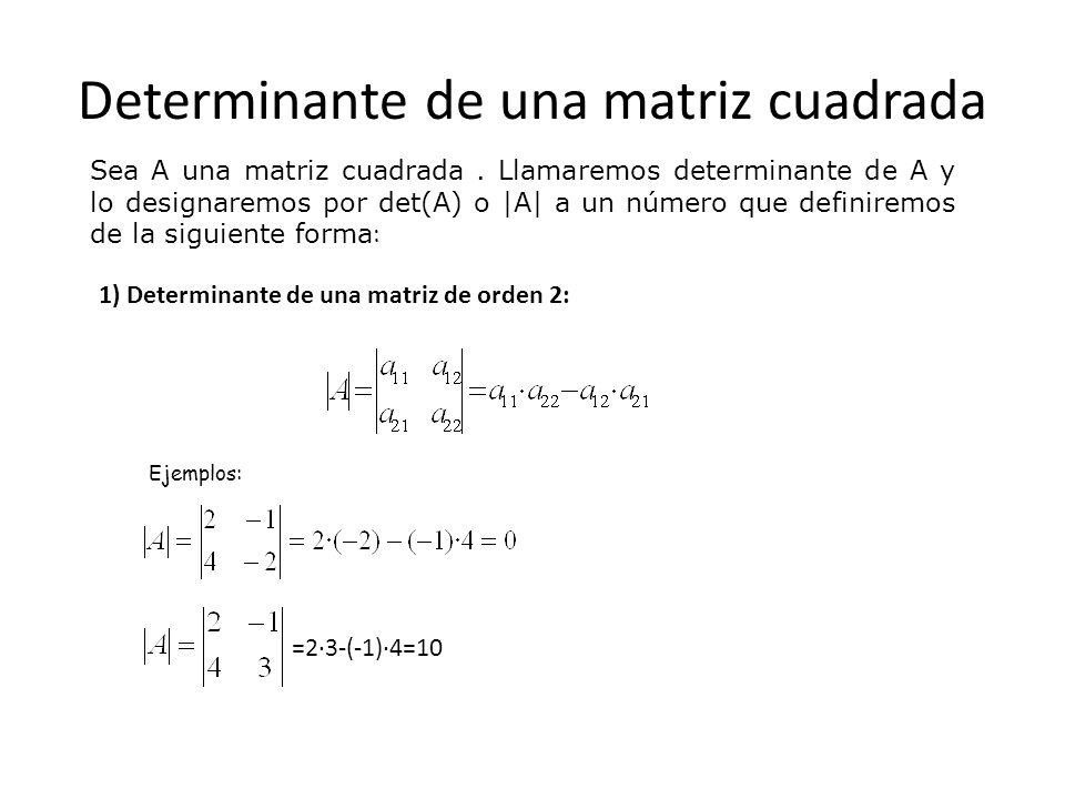 2) Determinante de una matriz de orden 3 o superior: Para definir el determinante de una matriz de orden 3 o superior hay que definir previamente los siguientes conceptos: Menor complementario del elemento a ij (se designa por M ij ) es el determinante que resulta al suprimir en la matriz A la fila i y la columna j Adjunto del elemento a ij (se designa por A ij ) En el ejemplo anterior: A 11 =(-1) 2 ·3=3 A 12 =(-1) 3 ·14=-14 A 23 =-8 A ij =(-1) i+j.M ij M 12 = M 23 =M 22 = M 33 = -308