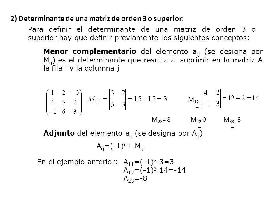 El adjunto coincide con el menor complementario, tan solo cambia el signo: tendrá igual signo o signo contrario según el siguiente esquema: Determinante de una matriz cuadrada es el número que se obtiene al multiplicar los elementos de la primera fila por sus respectivos adjuntos:  A =a 11 A 11 +a 12 A 12 +a 13 A 13 +….+a 1n A 1n Más adelante veremos que se puede obtener el mismo resultado si utilizamos cualquier otra fila o columna