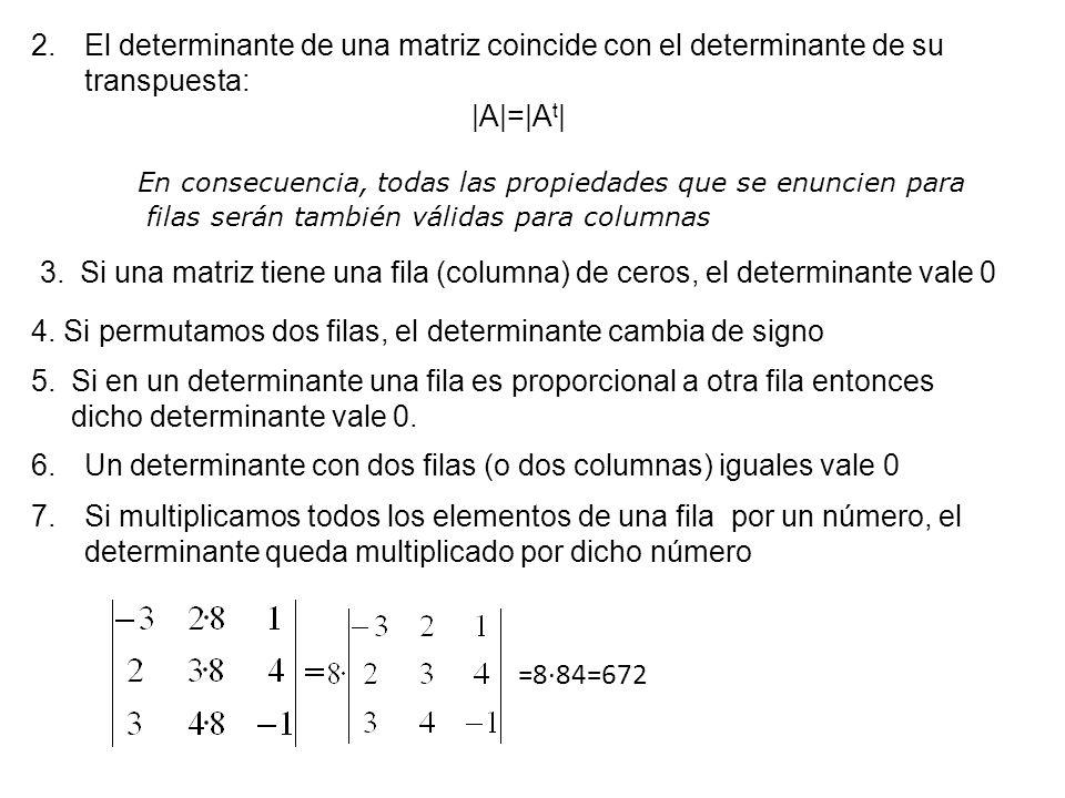 2.El determinante de una matriz coincide con el determinante de su transpuesta: |A|=|A t | En consecuencia, todas las propiedades que se enuncien para