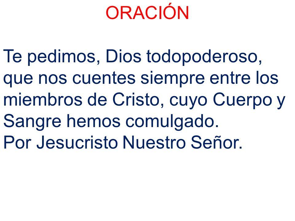 ORACIÓN Te pedimos, Dios todopoderoso, que nos cuentes siempre entre los miembros de Cristo, cuyo Cuerpo y Sangre hemos comulgado. Por Jesucristo Nues