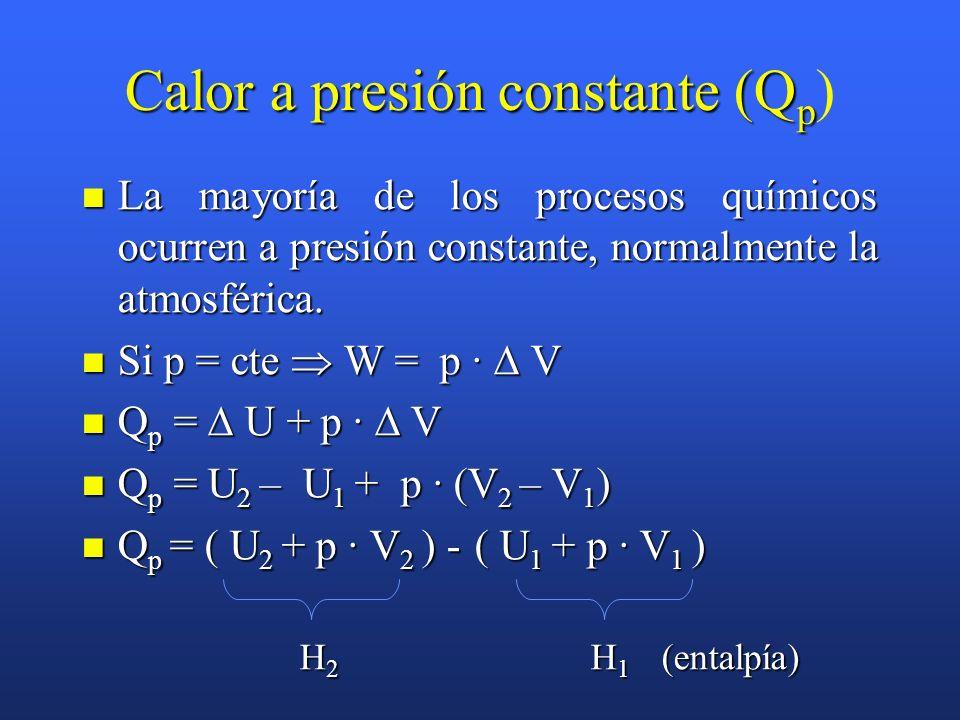 Calor a volumen constante (Q v Calor a volumen constante (Q v ) Es el intercambio de energía en un recipiente cerrado que no cambia de volumen. Es el