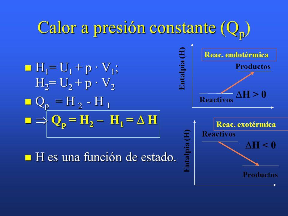 Calor a presión constante (Q p Calor a presión constante (Q p ) La mayoría de los procesos químicos ocurren a presión constante, normalmente la atmosf