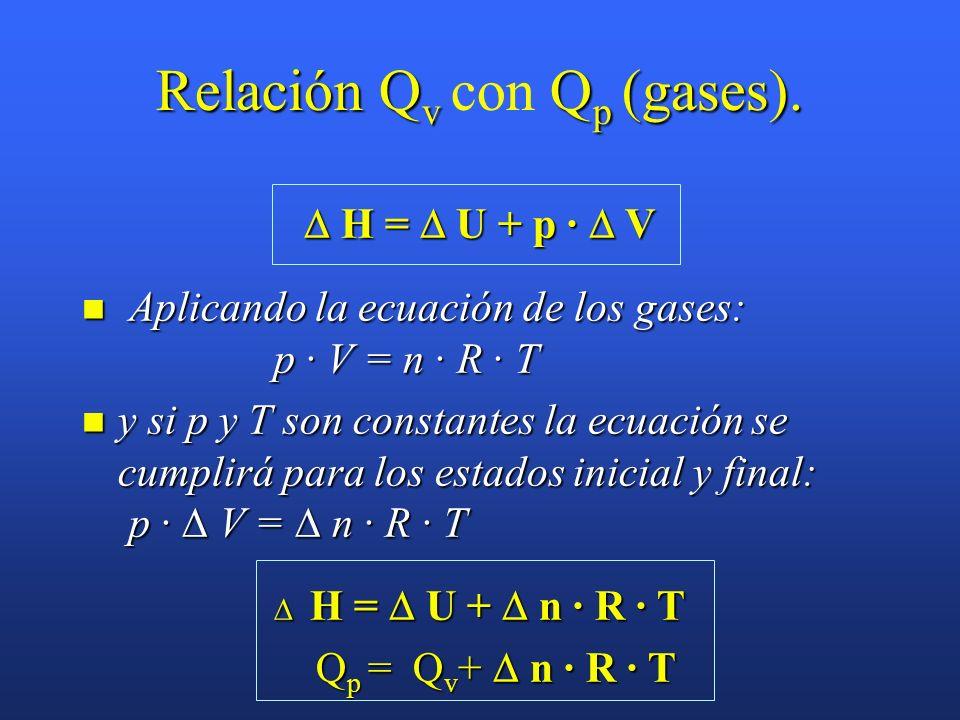 Calor a presión constante (Q p Calor a presión constante (Q p ) H 1 = U 1 + p · V 1 ; H 2 = U 2 + p · V 2 H 1 = U 1 + p · V 1 ; H 2 = U 2 + p · V 2 Q