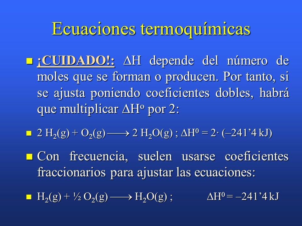 Ecuaciones termoquímicas Expresan tanto los reactivos como los productos indicando entre paréntesis su estado físico, y a continuación la variación en