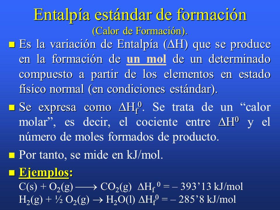 Ecuaciones termoquímicas ¡CUIDADO!: H depende del número de moles que se forman o producen. Por tanto, si se ajusta poniendo coeficientes dobles, habr