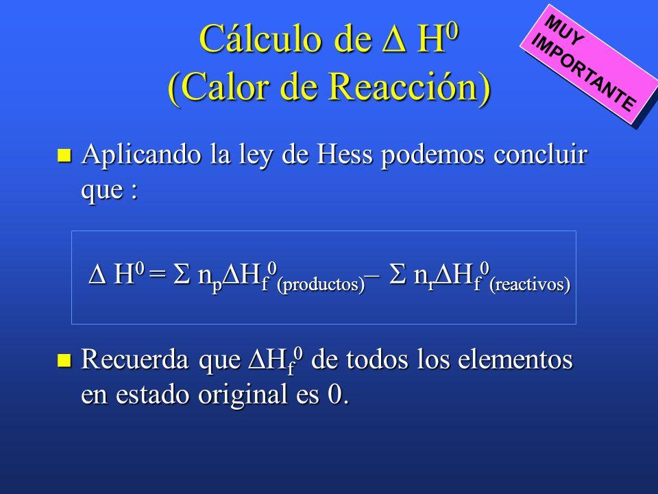 Ejemplo: Dadas las reacciones (1) H 2 (g) + ½ O 2 (g) H 2 O(g) H 1 0 = – 2418 kJ (2) H 2 (g) + ½ O 2 (g) H 2 O(l) H 2 0 = – 2858 kJ Calcular la entalp